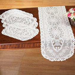 Kitchen Table Lace Runner & Placemats - 5 pc, White