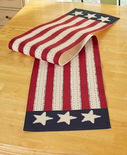 STAR SPANGLED AMERICAN FLAG DESIGN TABLE RUNNER AND/OR SET O