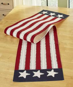 Kitchen Table Runner Stars Stripes Americana Patriotic Red W