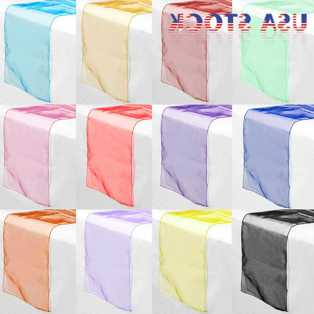 "10 PCS Sheer Organza Table Runner 14"" x 108"" Wedding Party C"