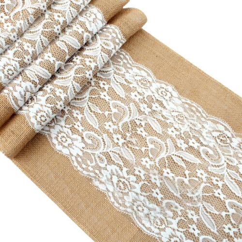 10×Burlap Hessian Lace Runner Country