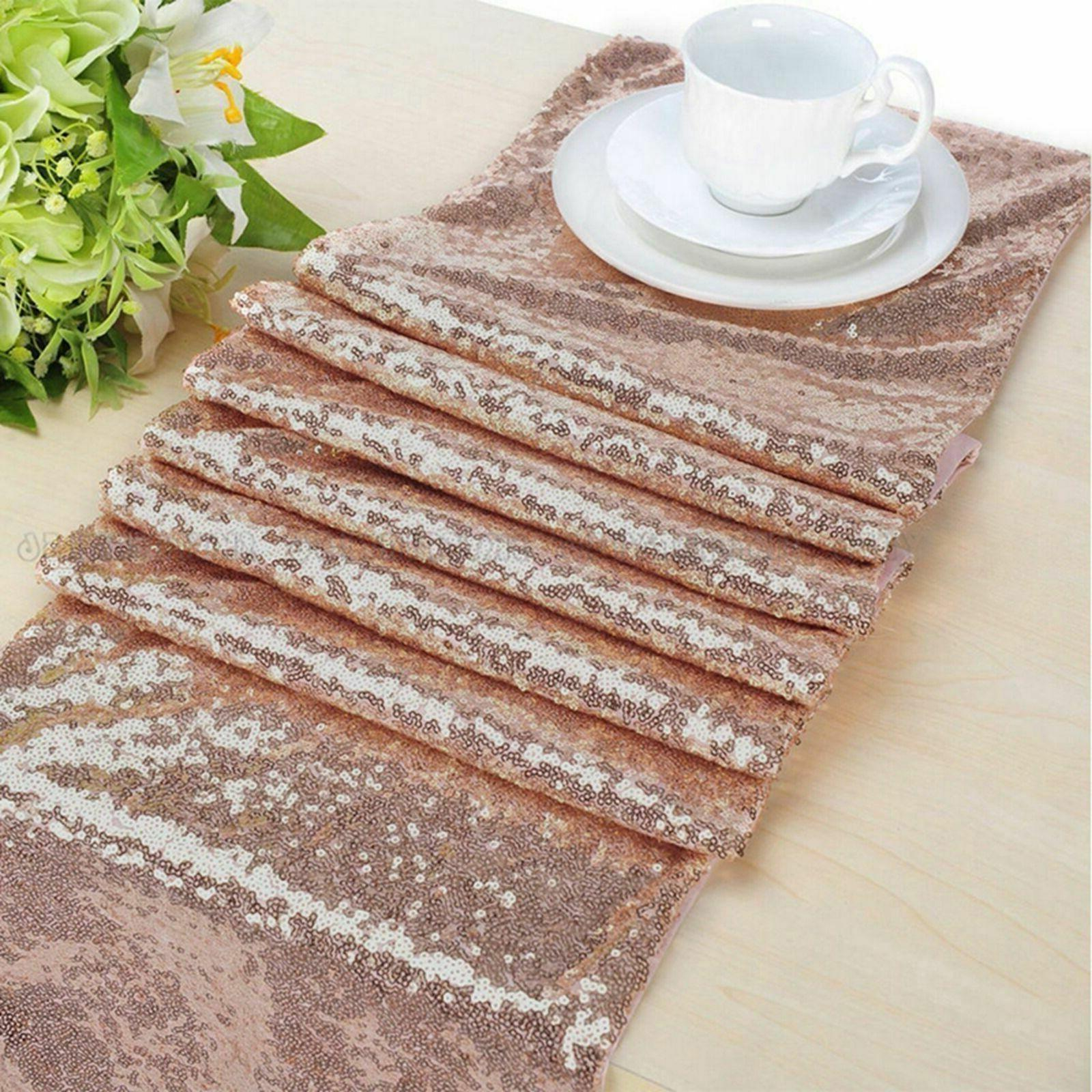 rose gold sequin table runner tablecloth xmas