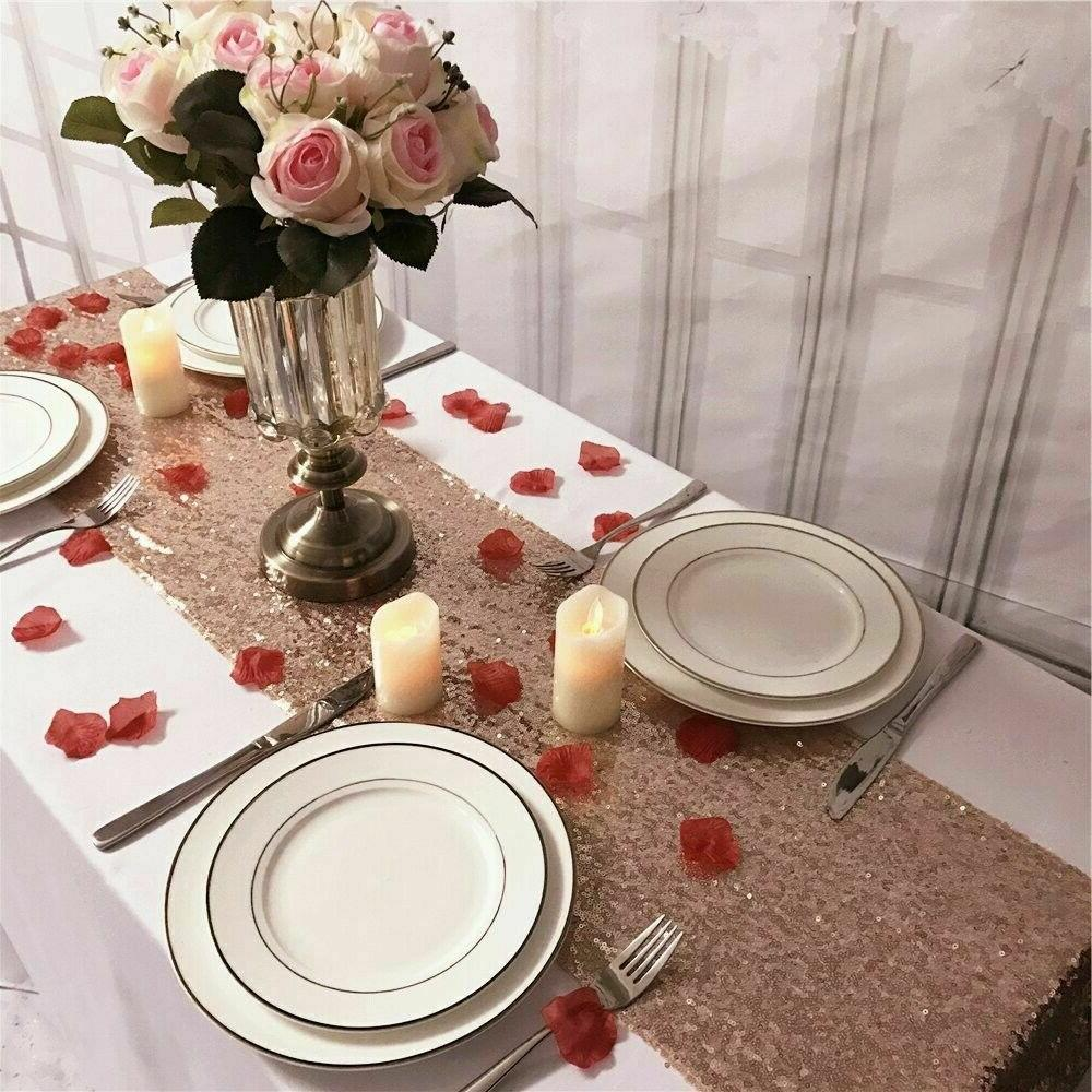 "Rose Gold Table Runner Wedding Decorations 12""x72''"