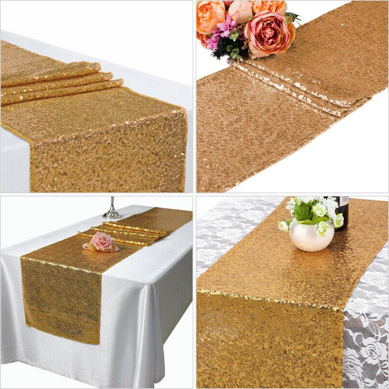 "12"" x 72"" Glitter Sequin Table Runner Tablecloth Wedding Par"