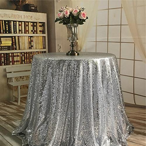 2018 silver round sequin tablecloth