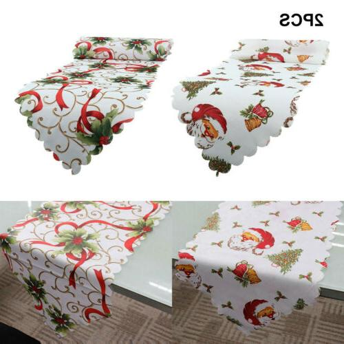 2pcs Christmas Table Cover Floral Home Table US