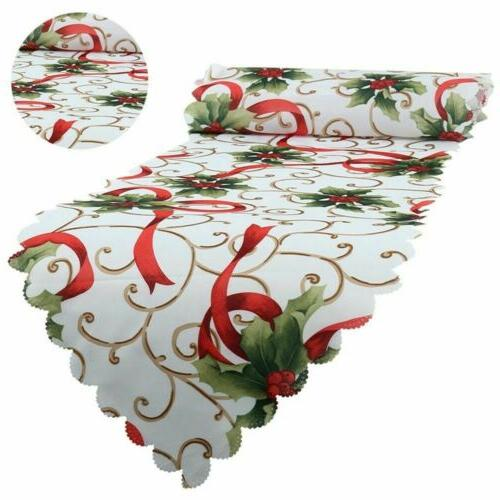 2pcs Christmas Table Runner Cover Party Home US