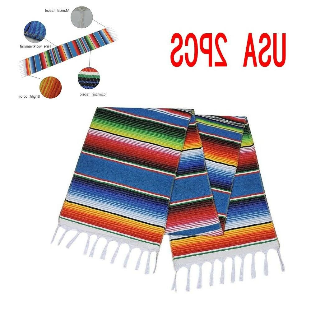 2pcs table runners mexican serape tablecloth festival