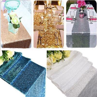 30x300/275/183cm Gold Sequin Table Runner Wedding Party Glit