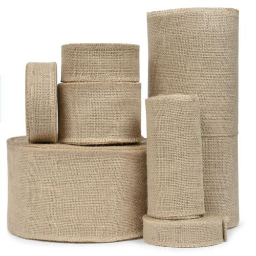 Vintage Craft Burlap Ribbon Jute Fabric Strip Spool Rustic O