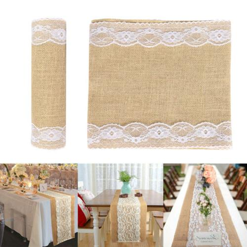 """10 Pack Burlap Table Runner with Lace 12"""" Wide x 118"""" Long f"""