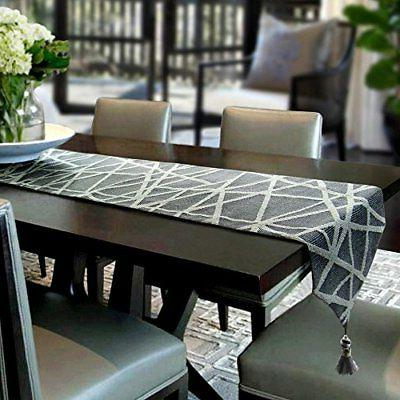 """Artbisons Table Runner Grey Geometry 95x13"""" Thickly Modern H"""