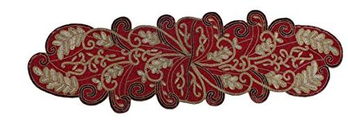 Cotton Craft - Beaded Table Runner - Scrolling Leaves - Burg