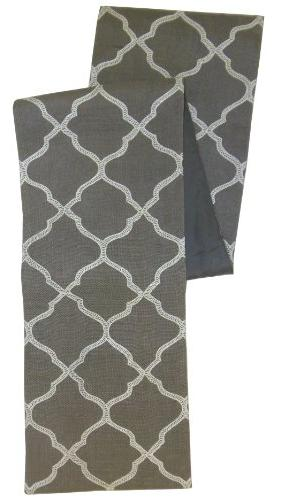 Cotton Craft - Moroccan Tile Embroidered Jute Table Runner -