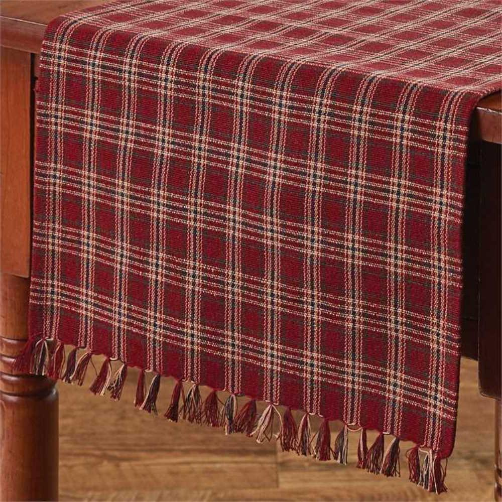 Cranberry Table Runner 13x36 Country Farmhouse Plaid Cotton