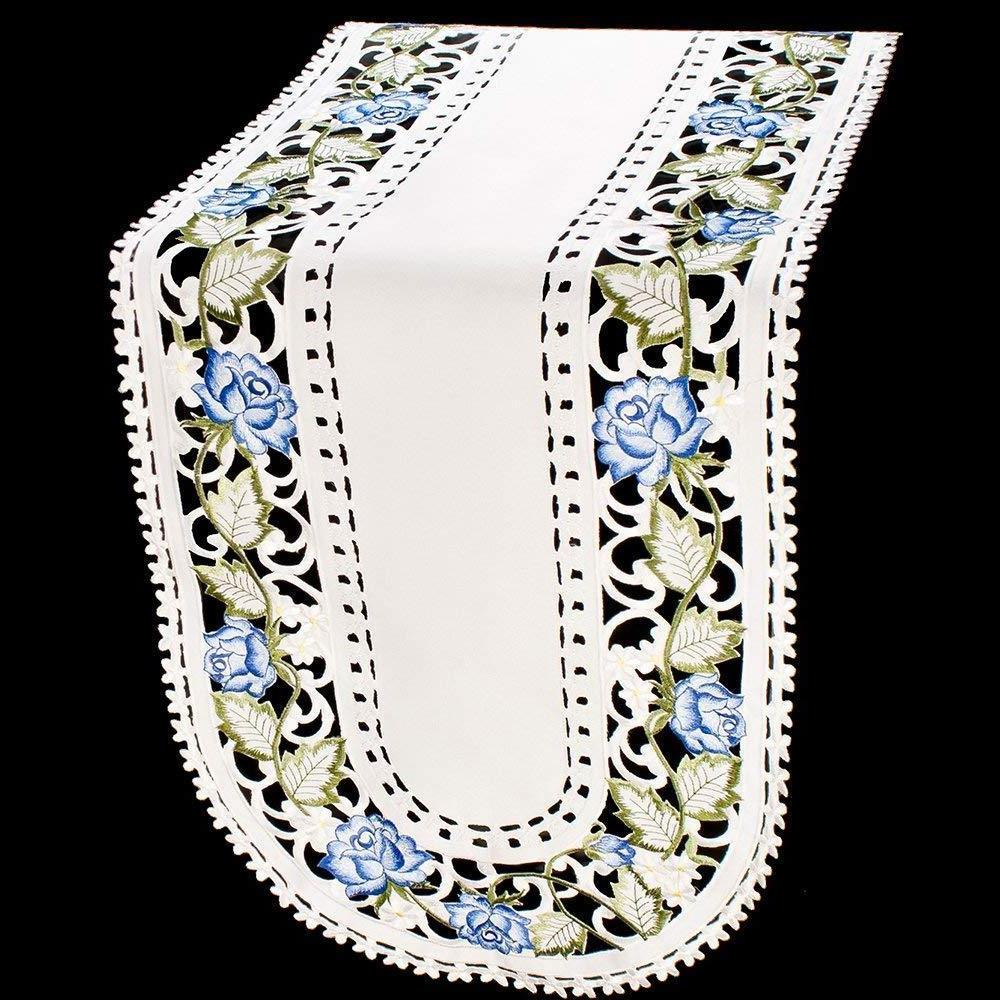 Embroidered Blue Rose/Cut Out Leaves on Cream Table Runner/S