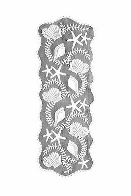 Heritage Lace Tidepool Table Runner, 14 by 40-Inch, White