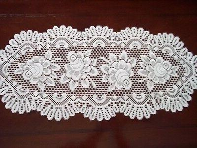 LACE TABLE RUNNER WHITE ROSE FLORAL HOME DECOR 32 X 14 OWTRR