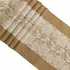Ling's moment 12x72 Inch Burlap and Lace Table Runner Spring