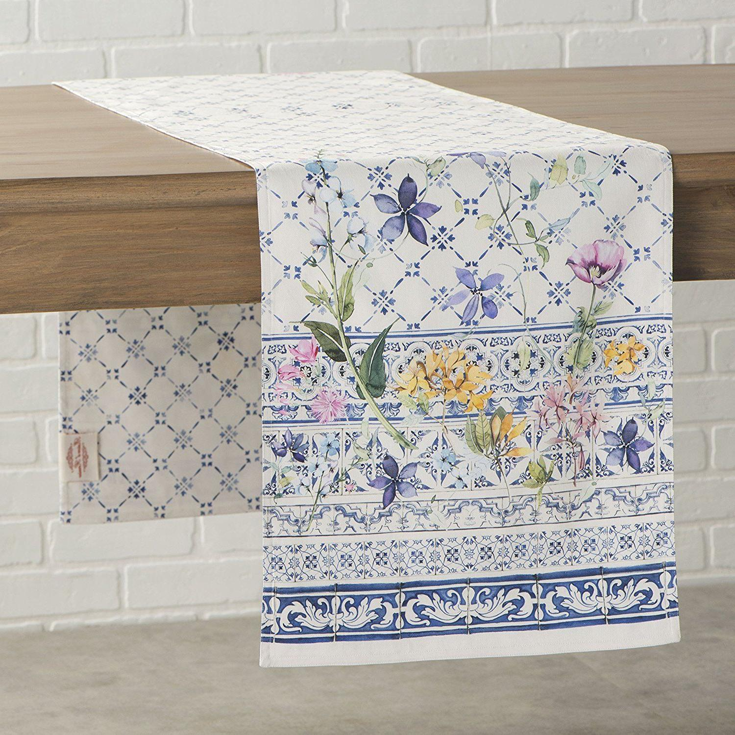 Maison d' Hermine Faience 100% Cotton Table Runner 14.5 inch