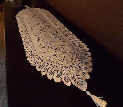 NEW - White Lace Table Runner or Dresser Scarf Scalloped Edg