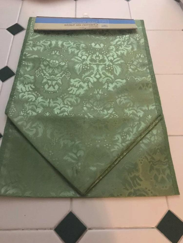 "NWT NEW Green Fabric Table Runner 12""x72"""