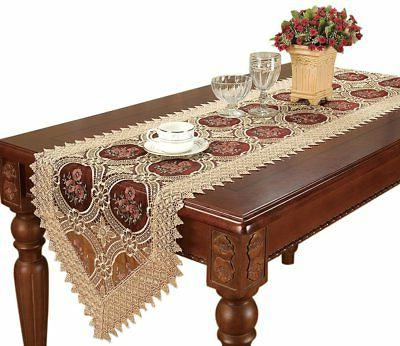 Simhomsen Gold Floral Lace Table Runner Embroidered Wine Red