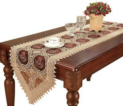 Simhomsen Extra Long Gold Lace Table Runner 16 By 156 Inch