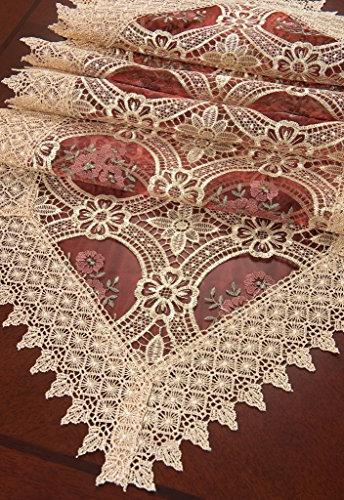 Simhomsen Gold Burgundy Lace Table Runner Dresser Scarves 16