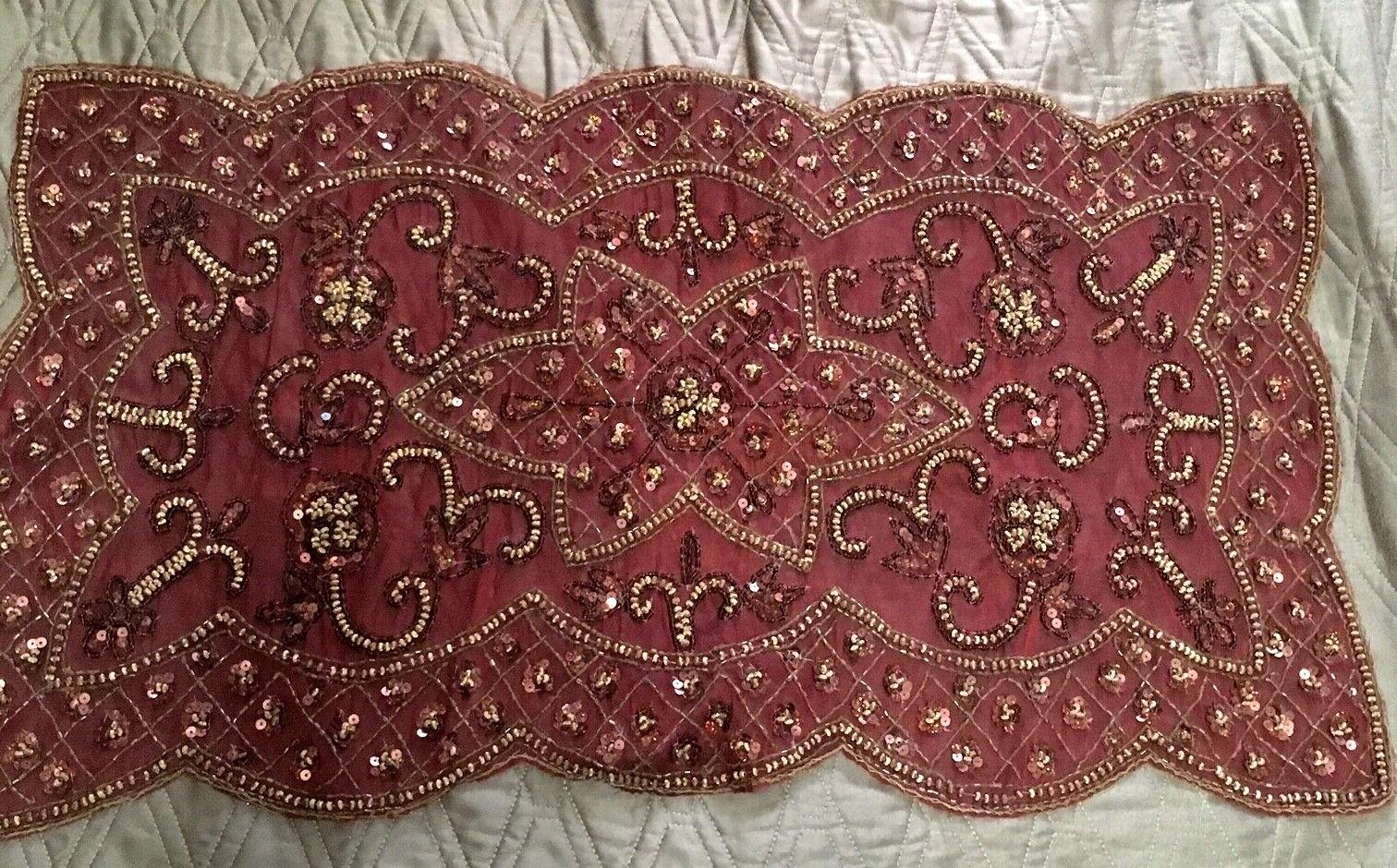 """Beaded Table Runner Red with Gold Beads Size 30"""" x 16"""" Sophi"""