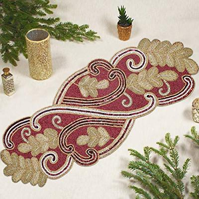 beaded table runner scrolling leaves red gold