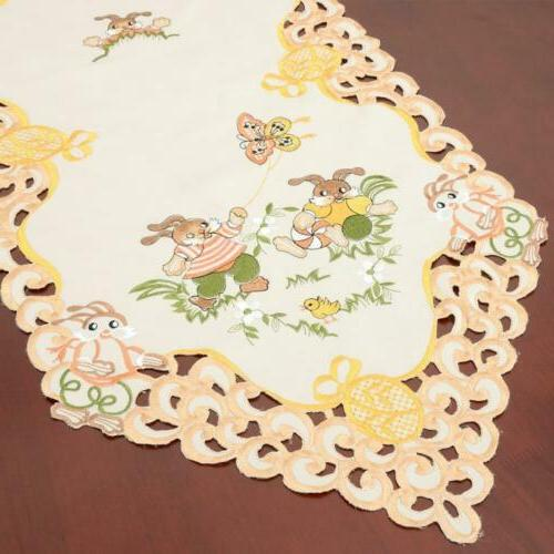 Grelucgo Easter Bunny Table Linen, Runners Inches