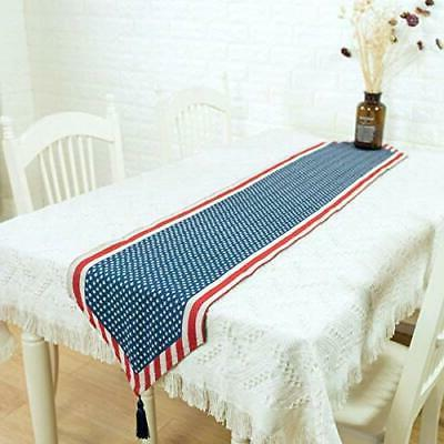 BinaryABC 4th Table Runner,Patrioric Tablecloth Table Cove