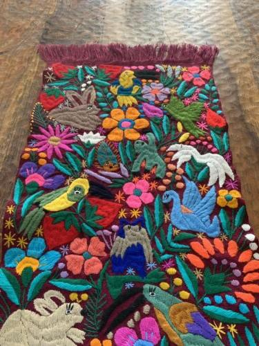 Birds Mexican Embroidered Table Runner 60x16 Purple Color