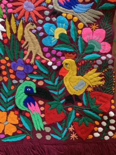Birds Animals Mexican Table Runner 60x16 Purple Color