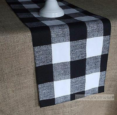 Black and White Plaid Buffalo Check Table Runner Gingham Cou