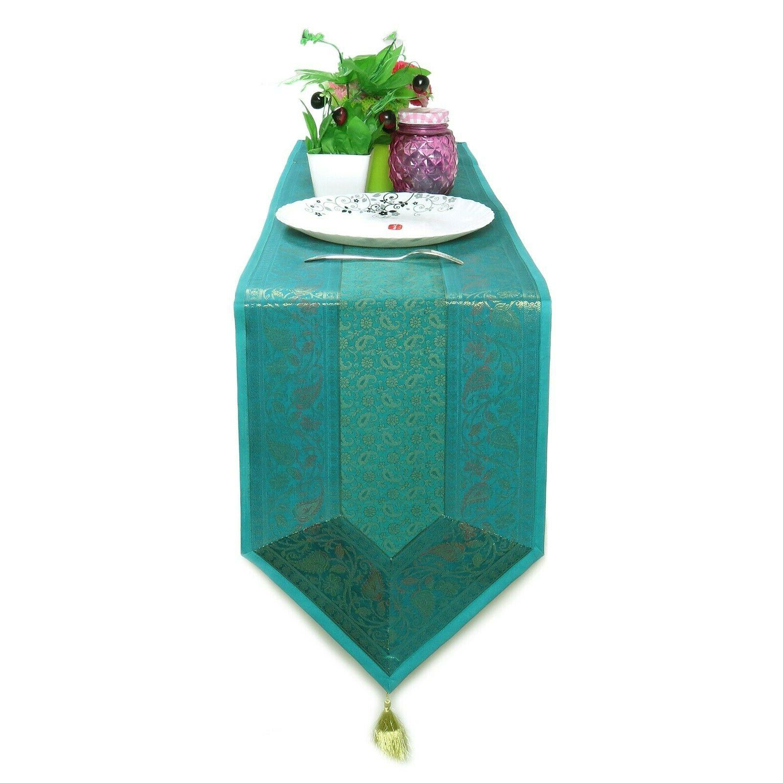 Silk Turquoise Table Runner Table Wedding