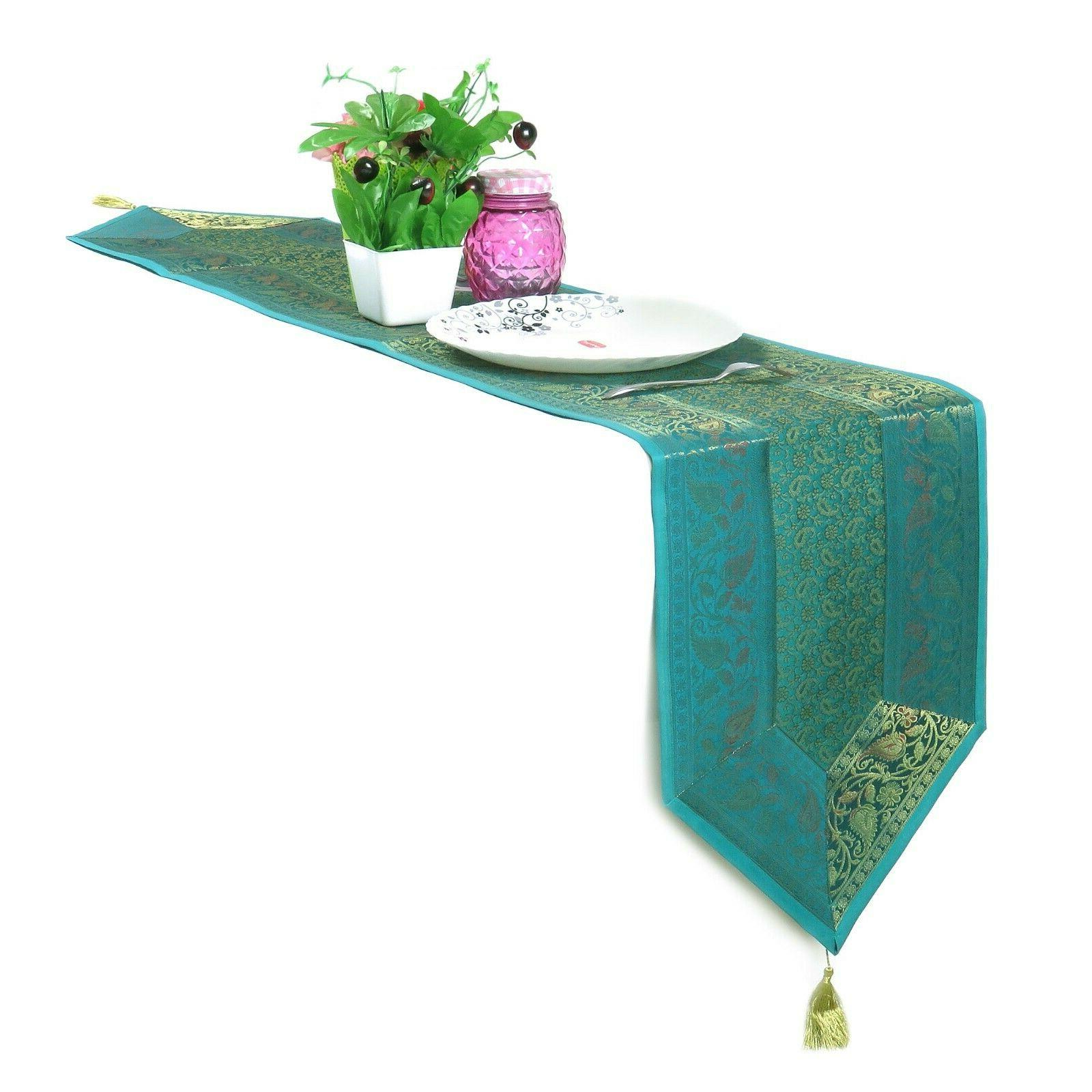 silk brocade turquoise table runner floral table