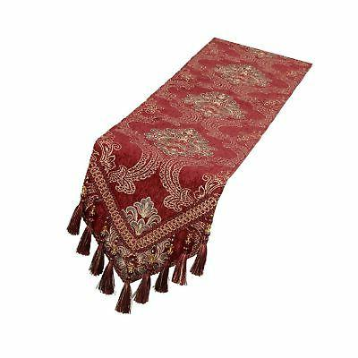 burgundy damask floral table runners and dresser