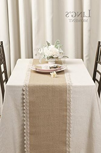 Ling's moment Burlap Runners Inches Rustic Party Decoration