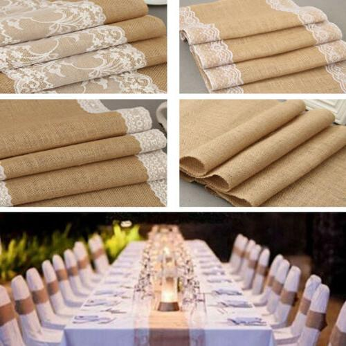 Burlap Table Runner Tablecloth Party Vintage