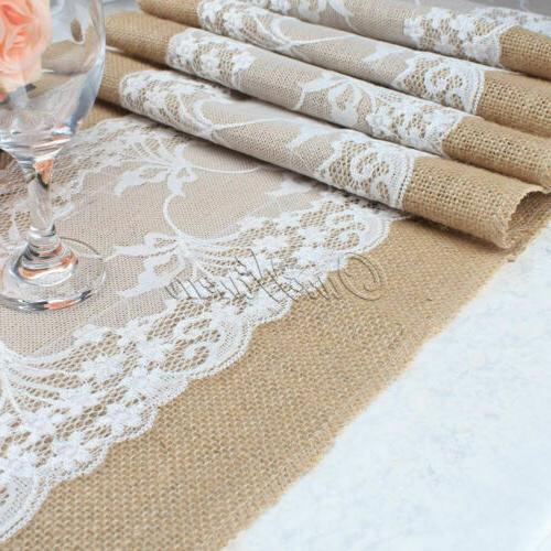 Burlap Table Runner Tablecloth Banquet Wedding Party Vintage