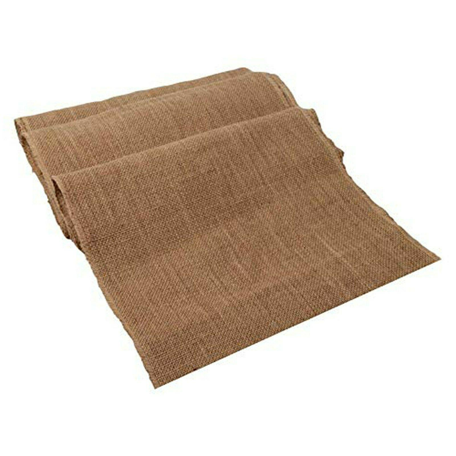 "Burlap Table Runner with fringe drop Edges, 14"" X 108"" tan c"