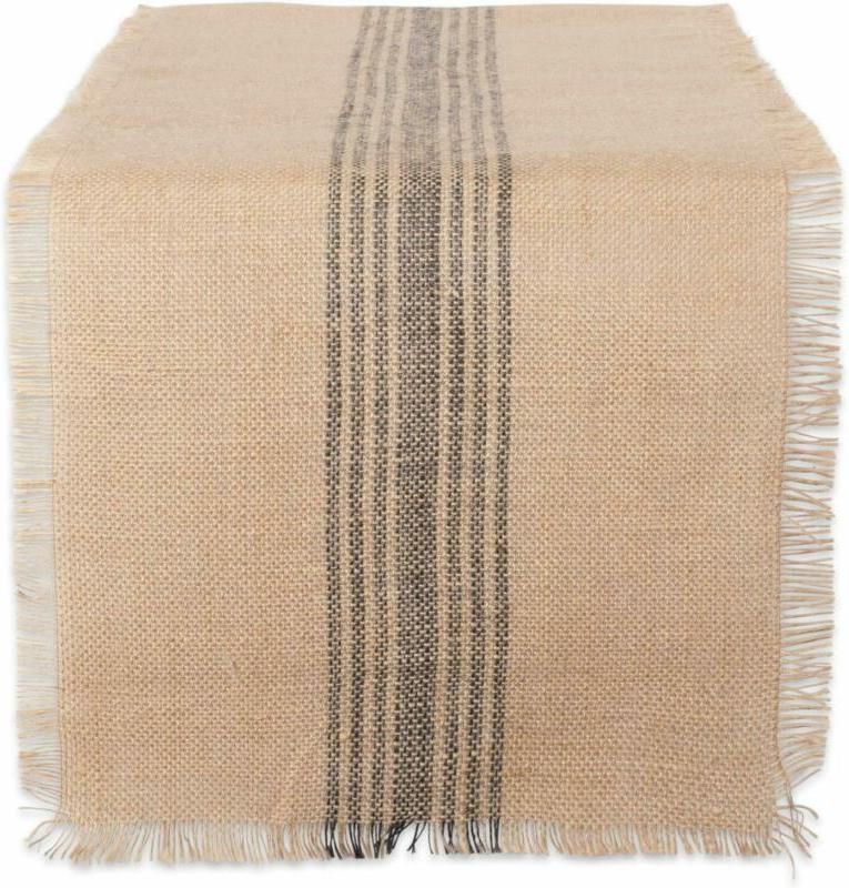 camz38416 mineral middle burlap table runner 14x108