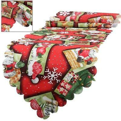 Christmas Runner Cover Floral Santa Xmas Home Kitchen Table Decor US
