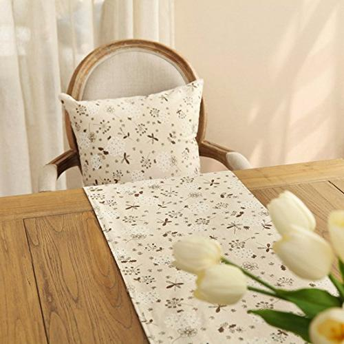 Ethomes Classic Linen Cotton Printed Natural Runner 13 86 inches