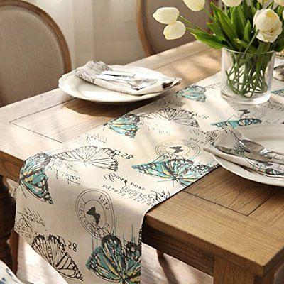 Ethomes Cotton Printed Natural Table Runner approx 13 86 inches