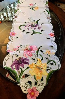 Colorful Lily Summer Decor Table Runner Embroidered Cutwork