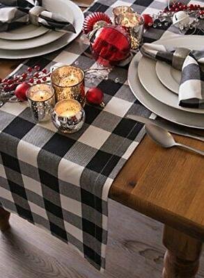 DII Cotton Check Table Runner Dinners o