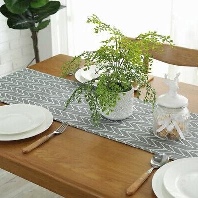 Cotton Linen Runner Tablecloth Wedding Party Dining Table
